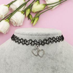 Чокер с подвеской, сердце, цвет чернёное серебро в чёрном