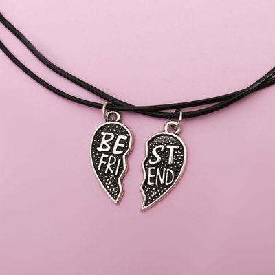 "Кулон на шнурке ""Неразлучники"" best friends, сердце половинки, цвет чернёное серебро"