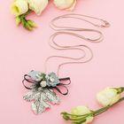 """Кулон """"Вдохновение"""" лист с цветами, цвет серо-голубой в серебре, 80см"""