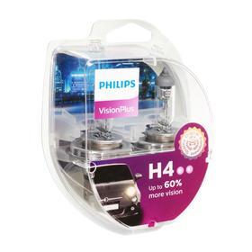 Лампа автомобильная Philips, Vision Plus, H4, 12 В, 60/55 Вт, P43t, 2шт.
