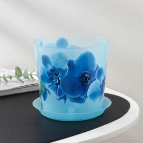 """Кашпо 1,2 л d=12,5 см """"Деко"""" с подставкой, орхидея голубая"""
