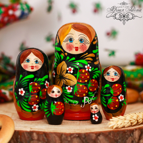 "Матрёшка 5-ти кукольная ""Хохлома. Краса России"""