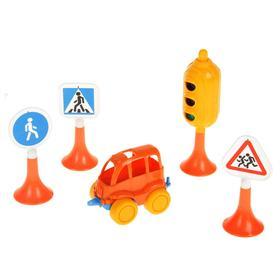 Набор 'Дорожные знаки' №2 светофор, 3 знака, машинка Ош