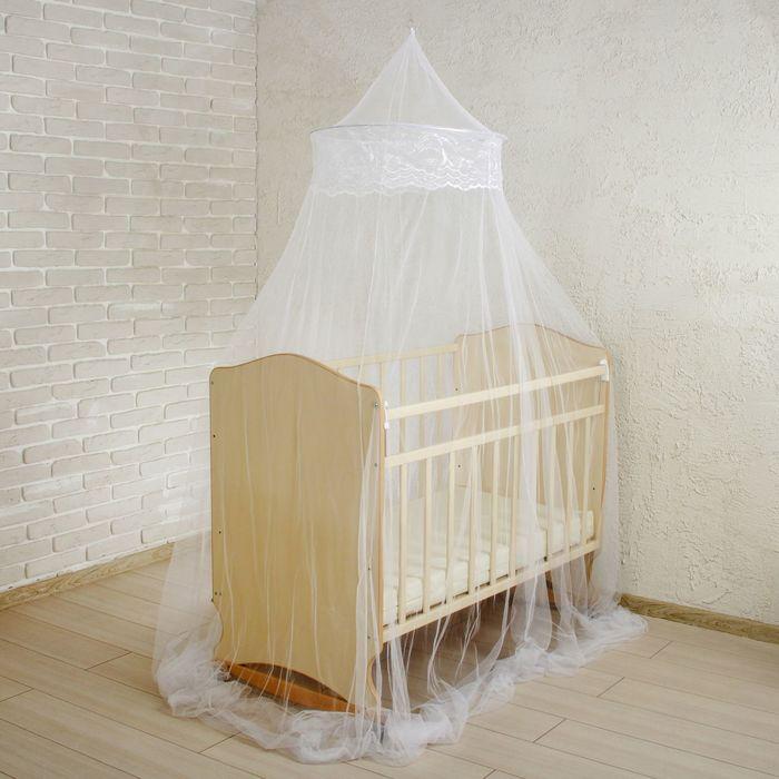 Москитная сетка на детскую кроватку, с декором, цвет белый