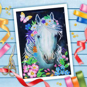 """Вышивка бисером """"Белая лошадь"""", 25 х 25 см"""