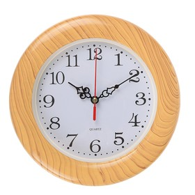 Часы настенные круг, рама дерево, циферблат белый d=21,5см