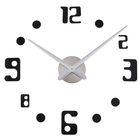 """Часы-наклейка DIY """"Объём модерн"""", чёрные цифры, с точками, 120см"""