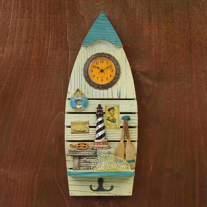 """Крючки декоративные дерево лодка с часами """"Рыбацкий причал"""" 38,5х15х4 см"""