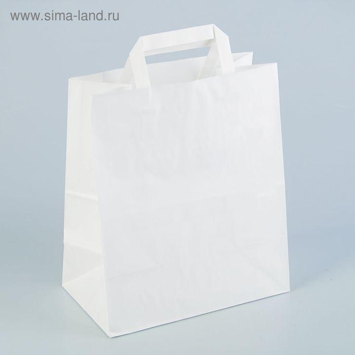 Пакет крафт без печати, белый, плоская ручка 24 х 14 х 28 см