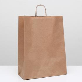 Пакет крафт без печати, круглая ручка 35 х 15 х 45 см Ош