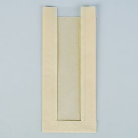 Пакет бумажный фасовочный, влагостойкий, бежевый, с окном, V-обр. дно 11(5) х 4 х 26 см Ош