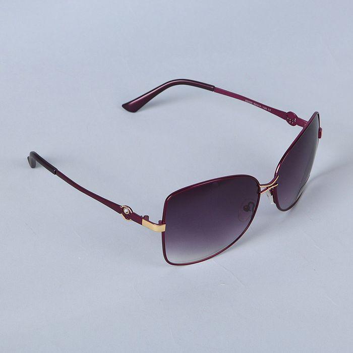 Очки солнцезащитные Оверсайз. Оправа фиолетовая тонкая, линзы микс 3х5,5х14,5см