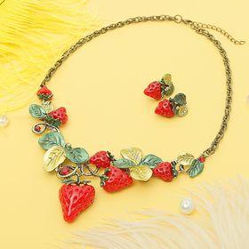Набор 2 предмета: серьги, колье 'Спелые ягоды' клубника, цвет красно-зелёный в сером металле 22711 Ош
