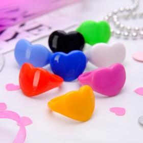 Кольцо пластик 'Сердце', цвет МИКС, размер МИКС Ош