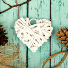 """Основа для творчества и декорирования """"Сердце"""" с подвесом, размер 1 шт 6*6 см, цвет белый"""