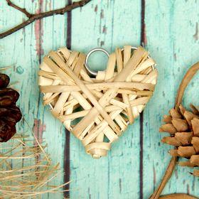 Основа для творчества и декорирования 'Сердце' с подвесом, размер 1 шт 6*6 см, цвет бежев Ош