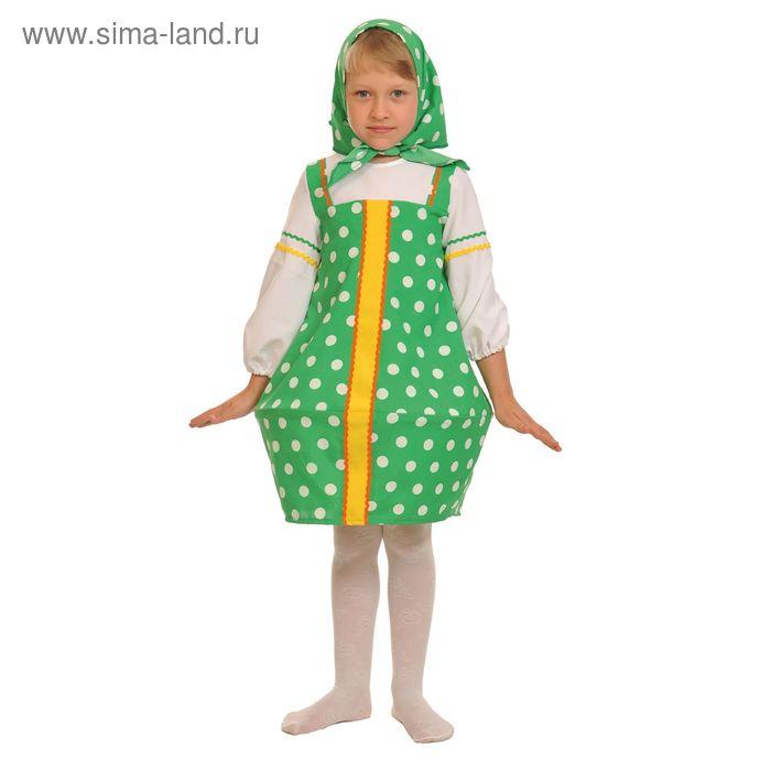 """Карнавальный костюм """"Матрёшка зелёная"""", текстиль, сарафан, косынка, р-р 28-30, рост 92-110 см"""