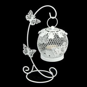"""Подсвечник металл 1 свеча """"Клетка на подвесе с бабочками"""" белый 22х10х15 см"""