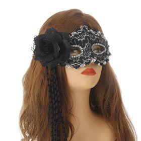 """Карнавальная маска """"Очарованье"""" с цветком, цвет черный"""