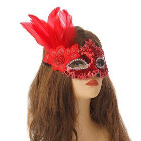 """Карнавальная маска """"Леди"""" с пером, цвет красный"""