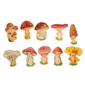 """Комплект украшений """"Лесные грибочки"""" на скотче, 10 видов, 12 х 12 см"""