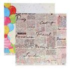 """Бумага для скрапбукинга """"Семейные ценности. Газеты и шарики"""" 30,5х30,5 см  190г/м2"""