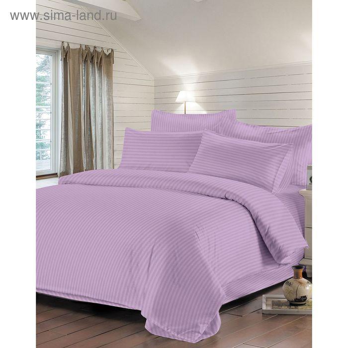 Простыня на резинке 180х200/18см, цв. фиолетовый, сатин-страйп 130г/м хл.100%