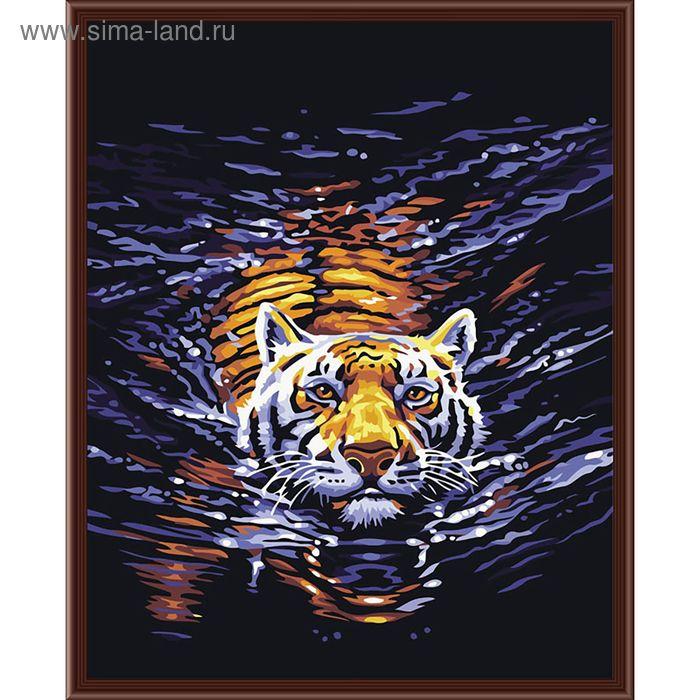"Картина со стразами ""Плывущий тигр"""