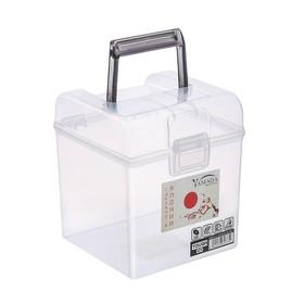Контейнер для хранения с ручкой 2 л, 14,5х14х16,2 см, цвет серый