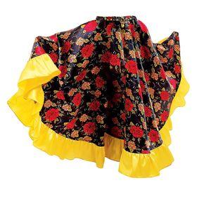 Цыганская юбка для девочки с  желтой оборкой по низу длина 59  (рост 110-116) Ош
