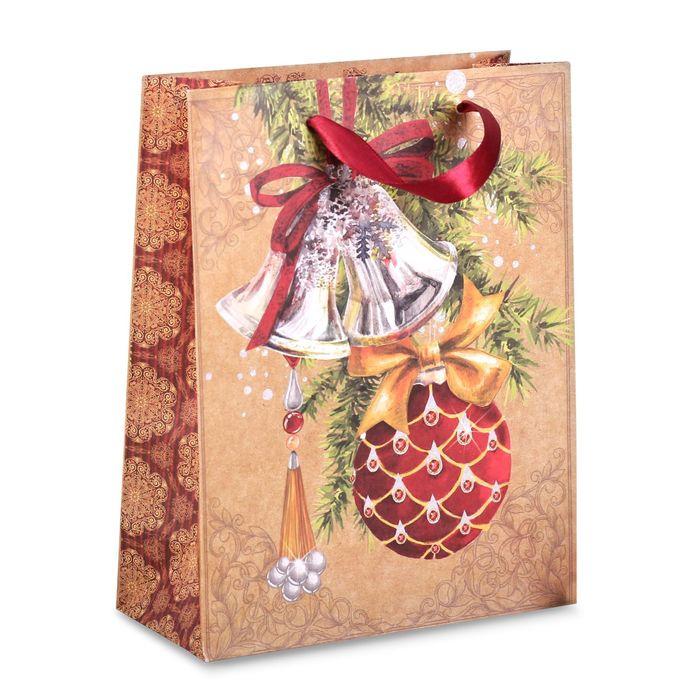 Пакет крафтовый вертикальный «Новогодие украшения», 18 × 23 × 8 см