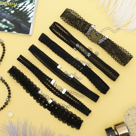 Чокер 'Ассорти' ажур, (набор 6 шт), цвет чёрный Ош