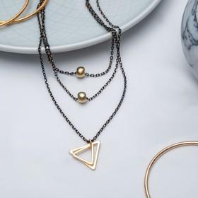 """Кулон """"Грация"""" тройной, треугольник, цвет золотой в чёрном металле, 38см"""