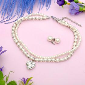 """Набор 2 предмета: чокер, серьги """"Торжество"""" сердце, цвет бело-серебряный"""