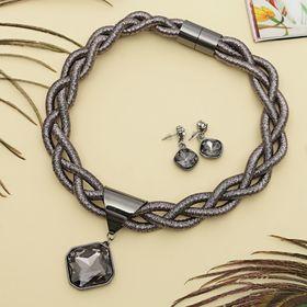 """Набор 2 предмета: серьги, колье """"Шанталь"""" косичка, цвет серый в сером металле"""