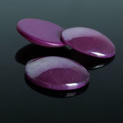 Кабошон стекло, круг 25мм (набор 3шт), цвет фиолетовый