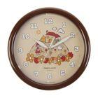 """Часы настенные круглые """"Дом"""", коричневый обод, детские, 24х24 см"""
