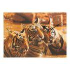 """Часы на холсте """"Три тигра"""",  25х35 см"""