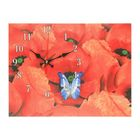 """Часы на холсте """"Голубая бабочка на цветке"""",  30х40 см"""