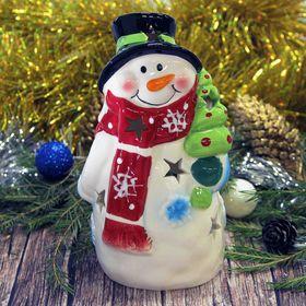 "Подсвечник керамика ""Снеговик в шарфике"" 17х9,5х8 см"
