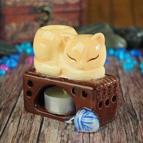 """Аромалампа керамика """"Кот на печке"""" 8х8,5х6,5 см"""