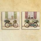 """Модульная картина на стекле """"Велосипеды"""", 2 шт. — 28×28 см, 56×28 см"""