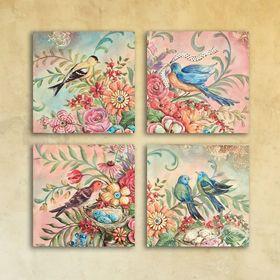 """Модульная картина на стекле """"Яркая с птицами"""", 28×28 см"""