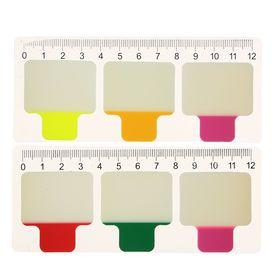 Блок-закладка с липким краем пластик 20л*3 38х38мм флуор в блистере МИКС Ош