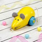 Деревянная мышка, жёлтая