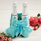 """Одежда для шампанского """"Бант кружевной свадебный"""", белая"""