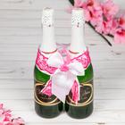 """Одежда для шампанского """"Бант свадебный с яблочком"""", розовая"""