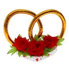 """Украшение на крышу """"Кольца с цветами"""", красные цветы"""
