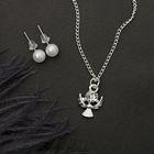"""Гарнитур 2 предмета: серьги, кулон """"Ангел"""", цвет белый в серебре, 43см"""