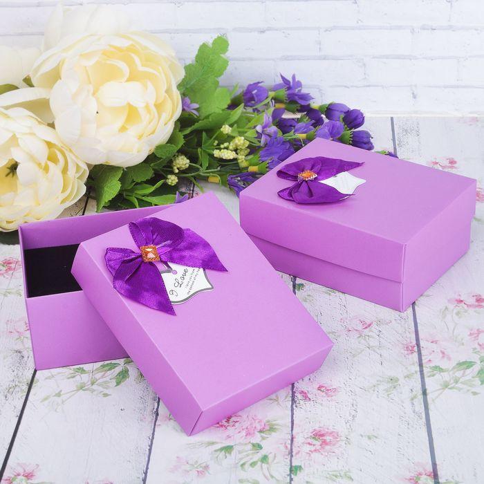 """Коробочка подарочная под набор """"Я тебя люблю"""" с бантом 8,5*11*5, цвет сиреневый"""